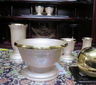 真鍮のフチ 淡いピンクに金の淵が上品な印象を与えます。~想々 6具足 3.5寸~ ハートホール若葉展示