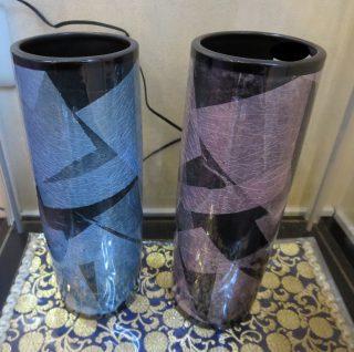 九谷焼モダン 銀彩 銀箔が黒に映える花瓶